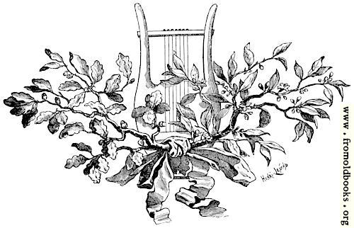 [Picture: Tailpiece ornament - Harp with oak leaves and mistletoe]