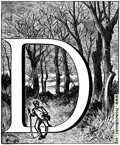 [Picture: Initial letter D with hiker in forest]