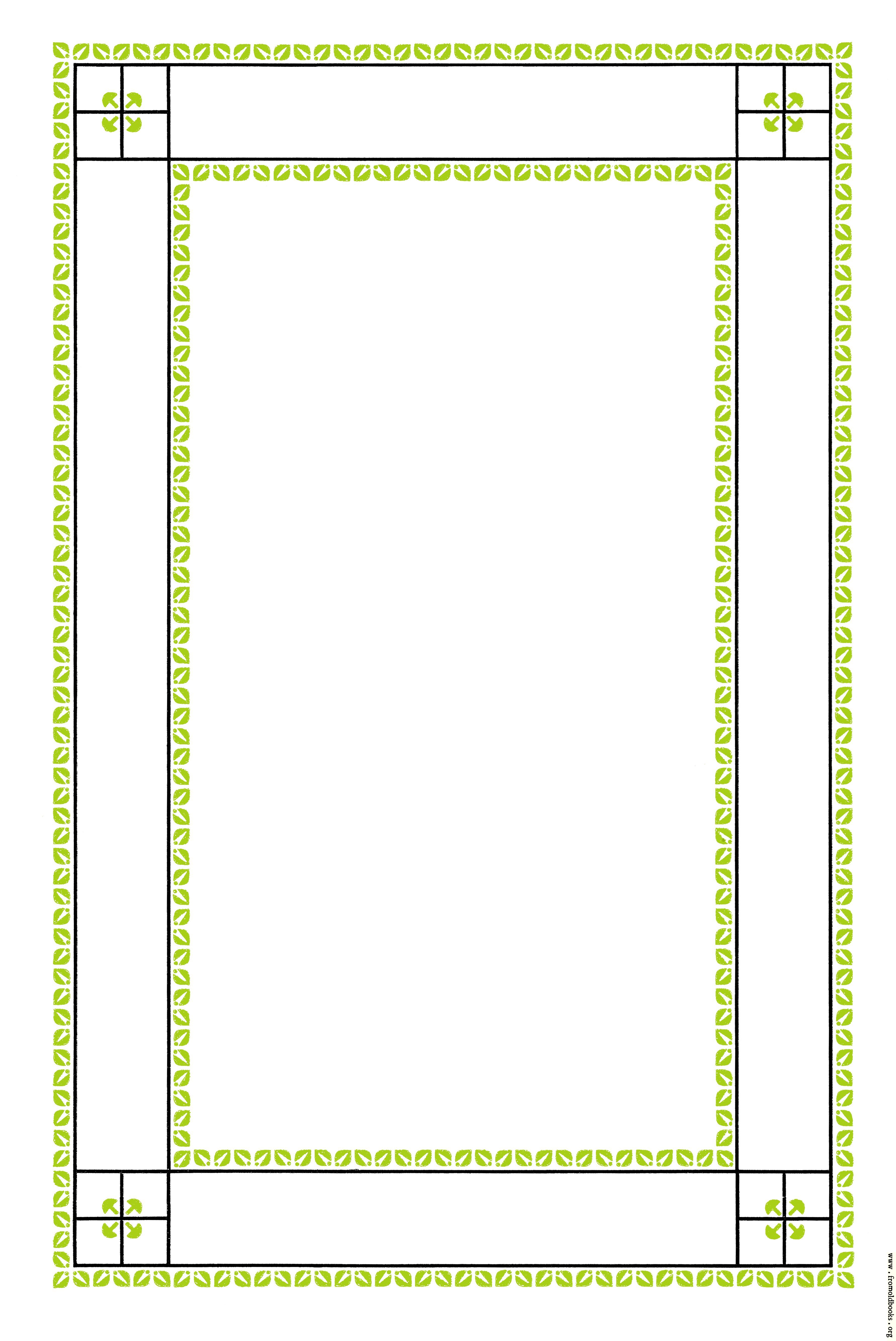 Green Leaf Border Line Lines and Leaves Page ...