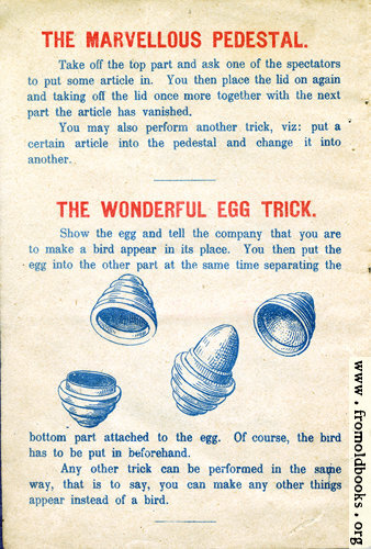 [Picture: Page 2: The Marvelous Pedestal and The Wonderful Egg Trick.]