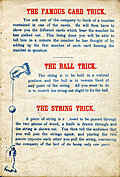 [picture: Page 3: The Famous Card Trick, The Ball Trick and The String Trick.]