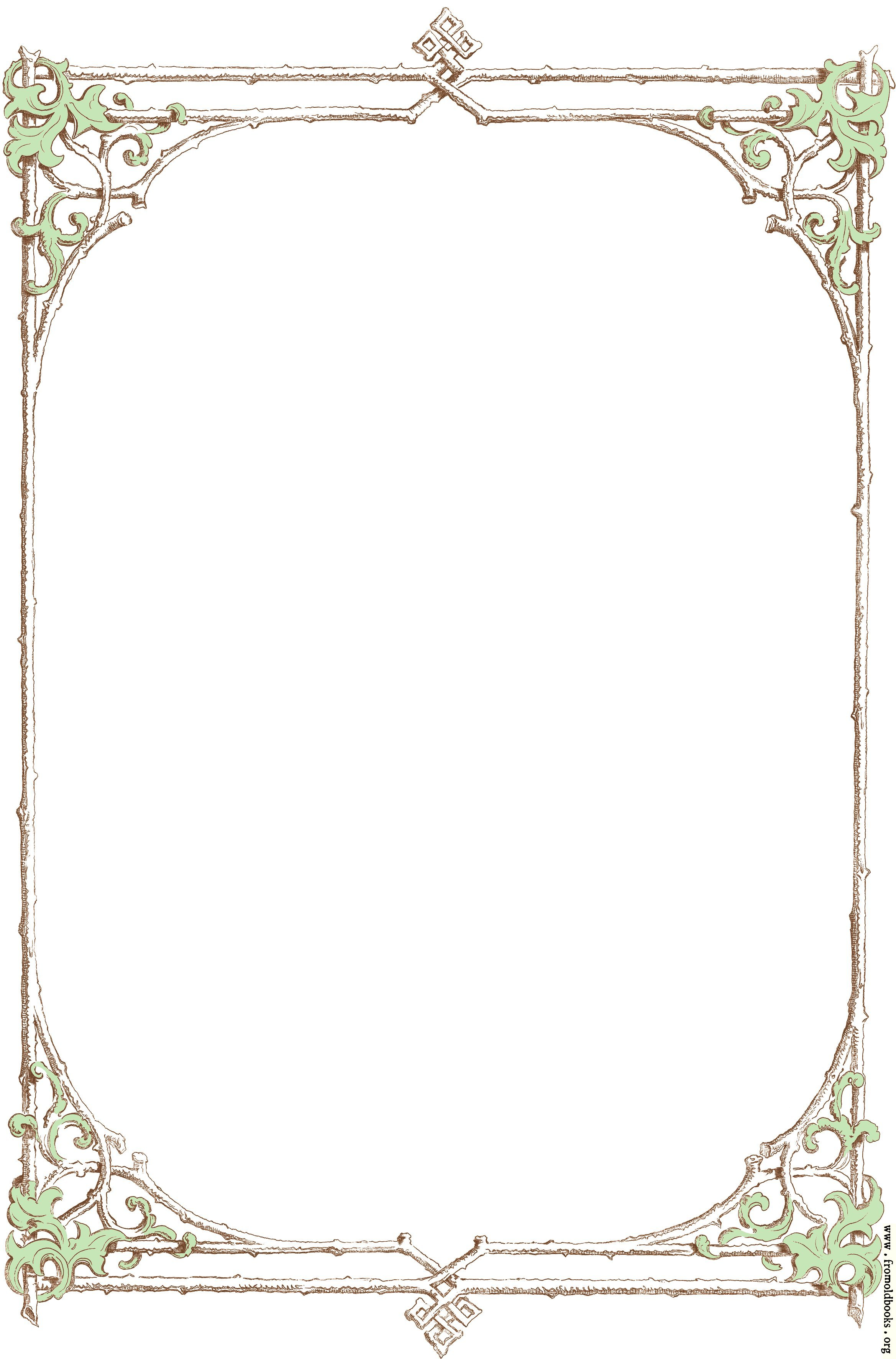 [Picture: Free clip-art: Victorian border of brown twigs and green leaves]
