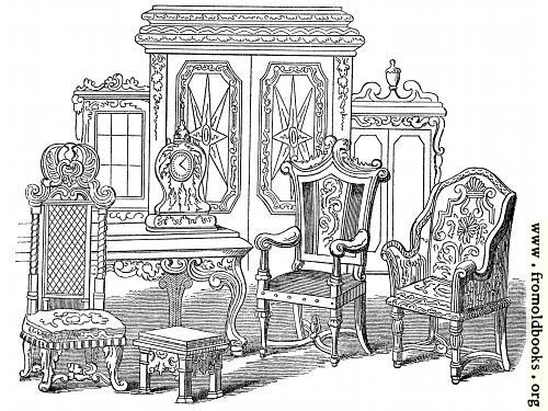 [Picture: Specimens of Furniture, Time of Anne.]