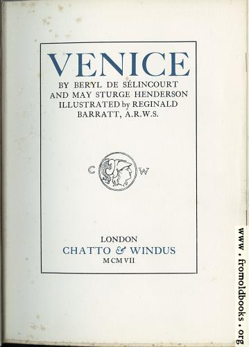 [Picture: Title Page, Venice]