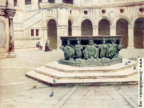 [Picture: 63.—Bronze Well-Head by Alberghetti—Courtyard of the Palazzo Ducale.]