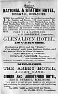 Old Advert: 13: National &Station Hotel; Glenalbyn Hotel; Melrose hotels