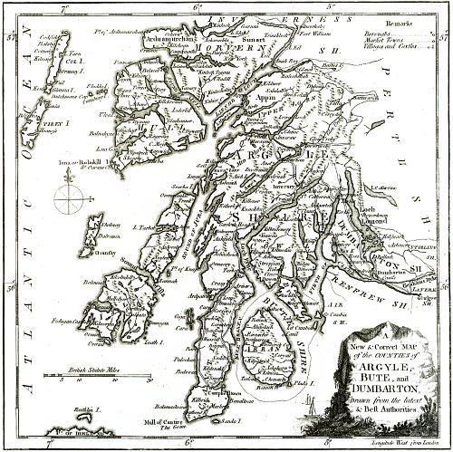 A New Correct MAP of the Counties of Argyle Bute and Dumbarton – Map Detail