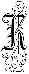 Ornate initial K from Germany