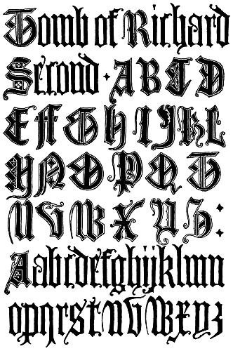 English gothic Letters 15th