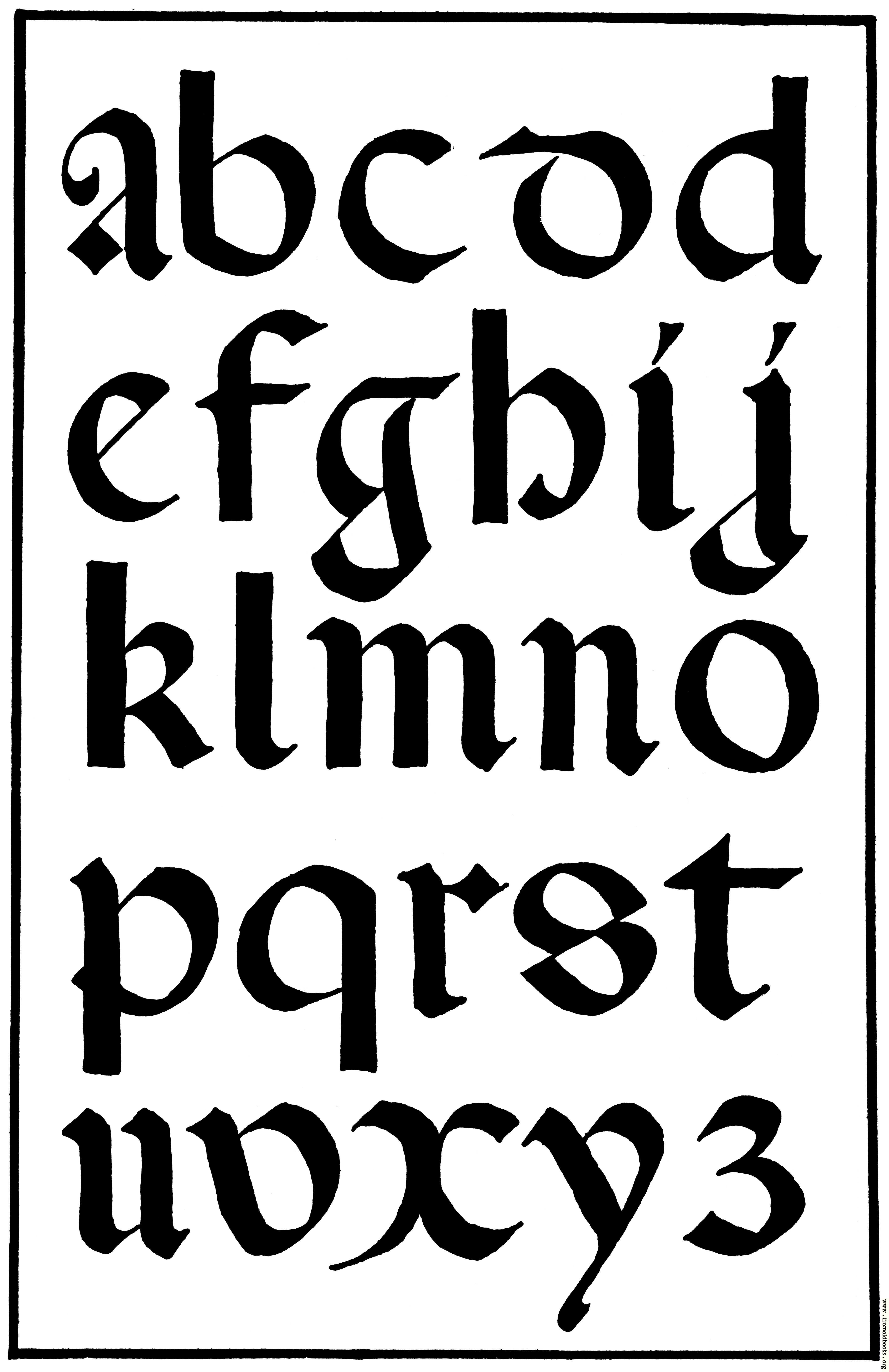 Fonts alphabet in gothic calligraphy graffiti