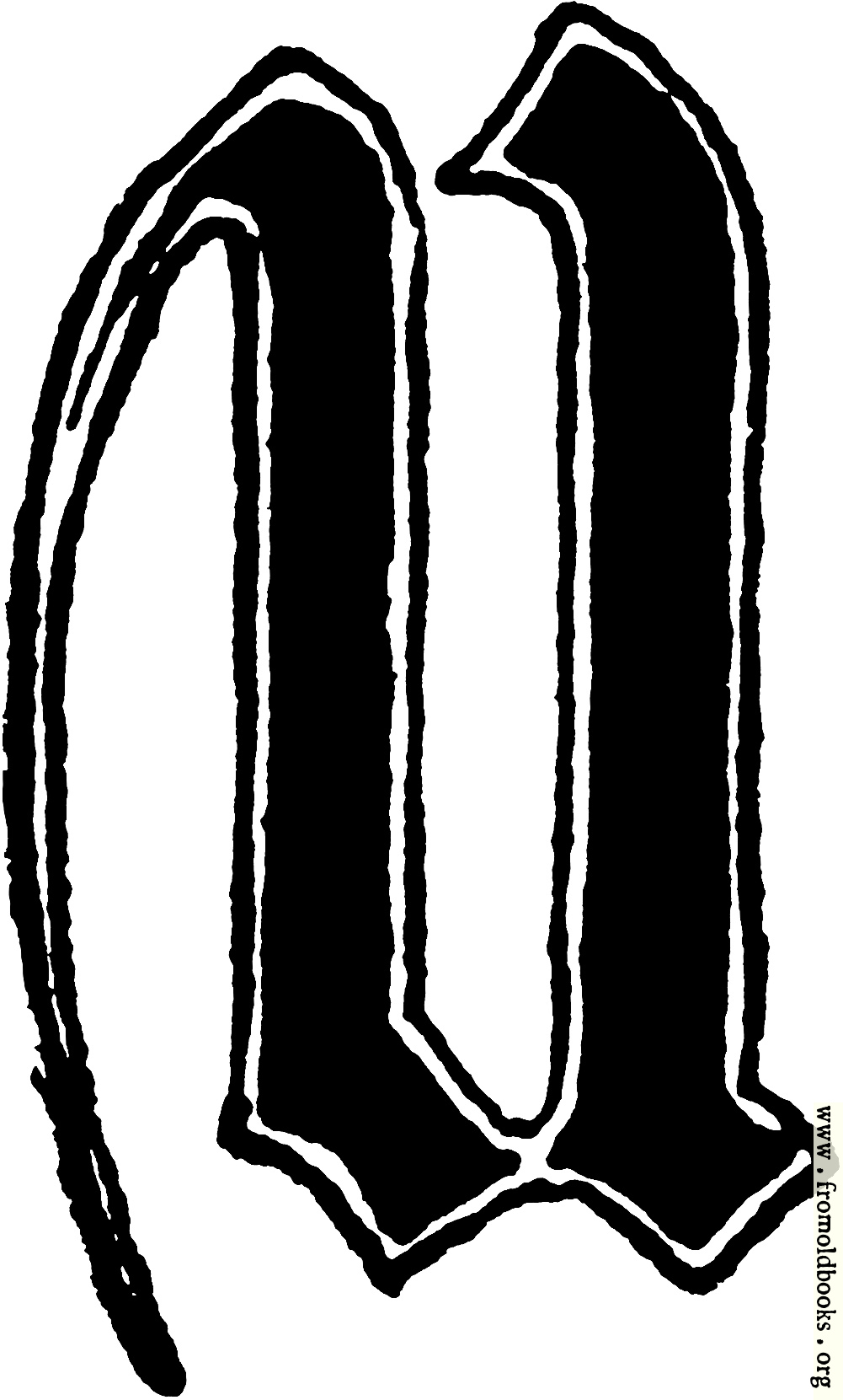 "Calligraphic letter ""U"" in 15th century gothic style details"