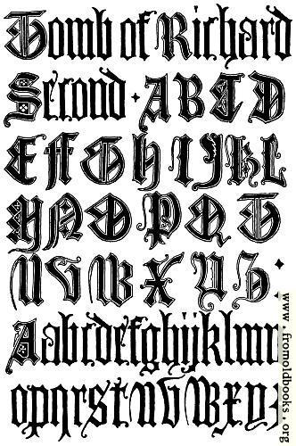 English gothic letters th century f c b