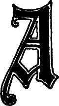 "Calligraphic letter ""A"" in 15th century gothic style"