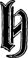 "Calligraphic letter ""H"" in 15th century gothic style"