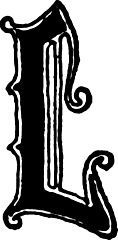 "Calligraphic letter ""L"" in 15th century gothic style"