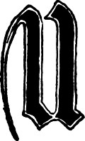 "Calligraphic letter ""U"" in 15th century gothic style"