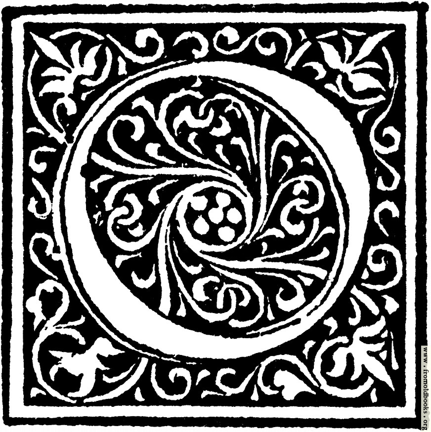 """Foliated decorative capital letter """"o"""