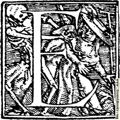 "[Picture: 62e.—Initial capital letter ""E"" from Dance of Death Alphabet]"