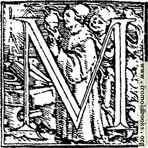 "[Picture: 62m.—Initial capital letter ""M"" from Dance of Death Alphabet.]"