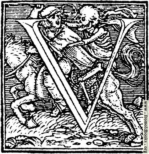 """[Picture: 62v.—Initial capital letter """"U"""" from Dance of Death Alphabet]"""