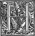 62h.Initial capital letter H from Dance of Death Alphabet.