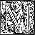 62m.Initial capital letter M from Dance of Death Alphabet.