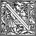 62n.Initial capital letter N from Dance of Death Alphabet.
