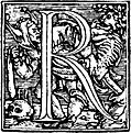 62r.?Initial capital letter ?R? from Dance of Death Alphabet.