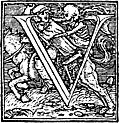 62v.?Initial capital letter ?U? from Dance of Death Alphabet