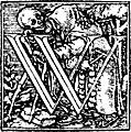 62w.Initial capital letter W from Dance of Death Alphabet.