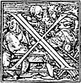 [picture: 62x.---Initial capital letter ``X'' from Dance of Death Alphabet.]