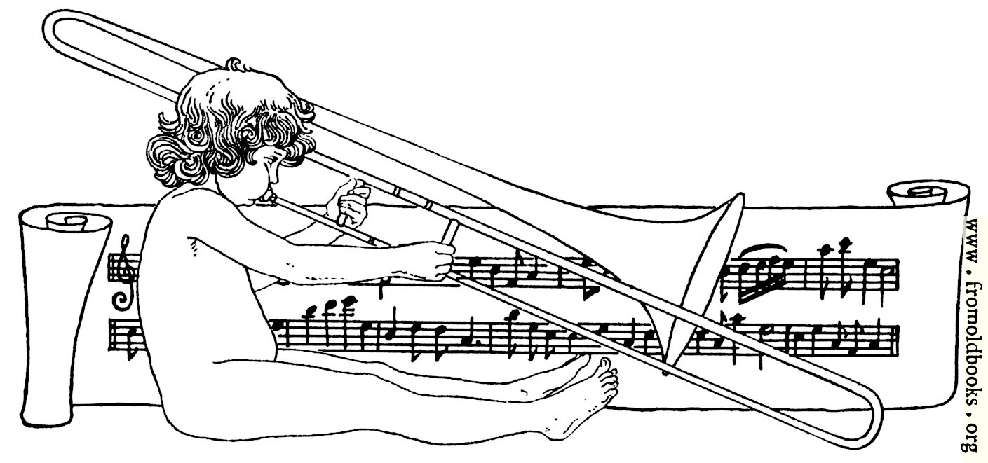 drawing of child playing trombone with scroll of music