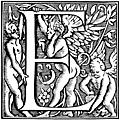 Decorative initial E with angel, woman and cherub