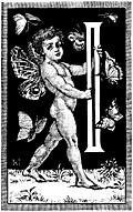 "Initial letter ""I"" with fairy cupid and butterflies"