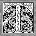 [picture: Decorative Initial T With Dragons]