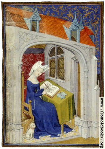[Picture: folio 4/recto, illumination, woman writing]