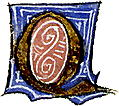 calligraphy: mediaeval decorative letter ?Q?
