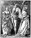 [picture: The Old year and the New: the jester crowns the new year as a young woman, and ushers out the old year, an old woman.]