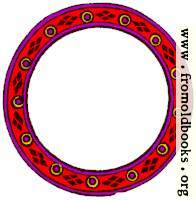 1085.—Circular border of frame, red purple yellow and brown.