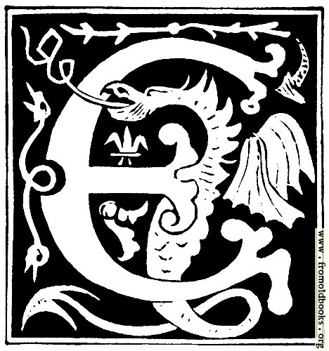 "[Picture: Decorative initial letter ""E"" from 16th Century]"