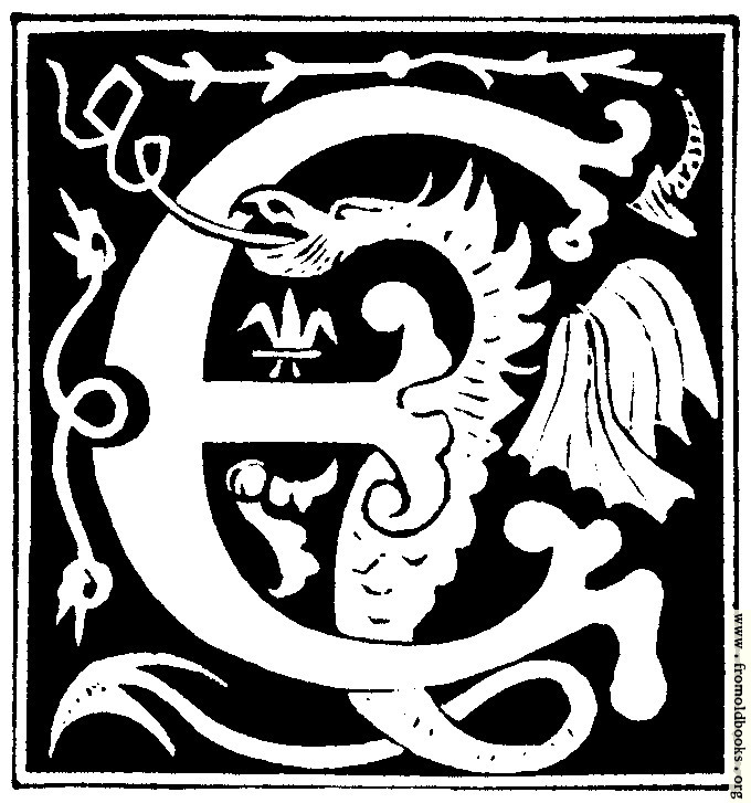 "Decorative initial letter ""E"" from 16th Century"