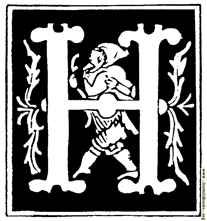 "Decorative initial letter ""H"" from 16th Century"