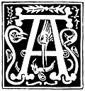 "Decorative initial letter ""A"" from 16th Century"