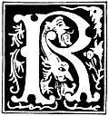 "Decorative initial letter ""R"" from 16th Century"