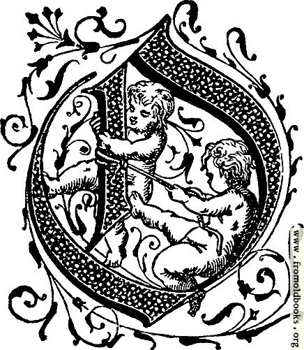 [Picture: Decorative initial letter O with cherubs]