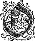 Decorative initial letter O with cherubs