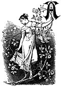 [picture: Decorative initial ``A'' with girl and roses]