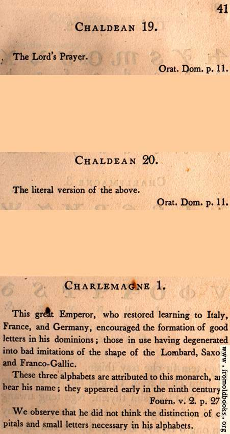[Picture: Page 41: Chaldean; Charlemagne (English description)]