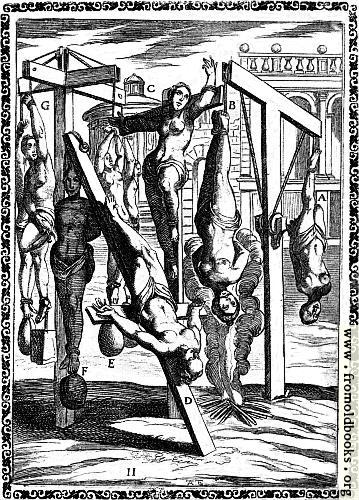 [Picture: 1.---Martyrs suspended by one or both feet, by the arms with heavy weights attached to the feet; crucified; Christian women hung up by the hair]