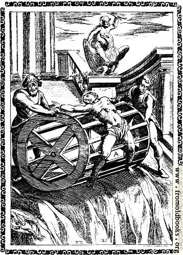 [Picture: 6.---Martyrs bound to the circumference of a great wheel, and rolled down a precipice]